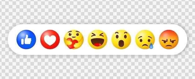 Reakcje Emoji Na Facebooku I Ikony Powiadomień W Mediach Społecznościowych Premium Wektorów