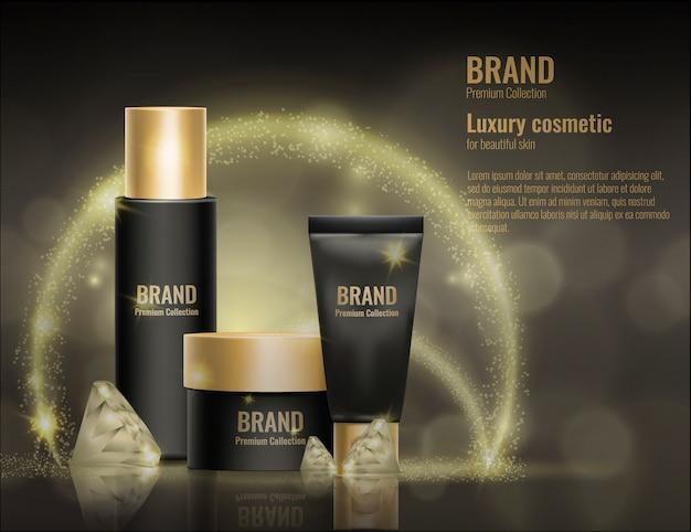 Realistyczna 3d kosmetyczna kremowa szablonu produktu pakunku złota reklamy ilustracja. Premium Wektorów