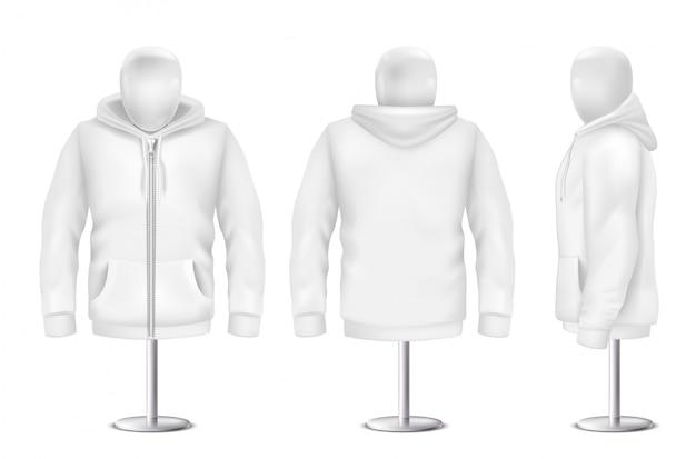 Realistyczna biała bluza z kapturem, przód, tył, boczny widok bluzy Darmowych Wektorów