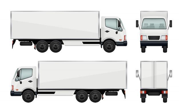 Realistyczna ciężarówka. ilustracje wektorowe transport ładunku Premium Wektorów