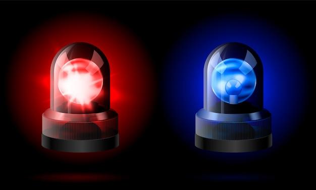 Realistyczna Czerwona I Niebieska Syrena Migaczy. Premium Wektorów