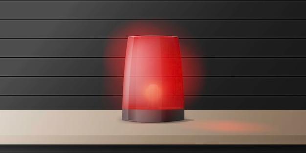 Realistyczna Czerwona Syrena Alarmowa Stoi Na Drewnianym Stole. Znak Ostrzegawczy. Premium Wektorów