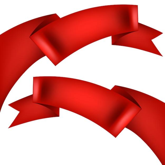 Realistyczna Czerwona Wstążka Ozdobna. Premium Wektorów