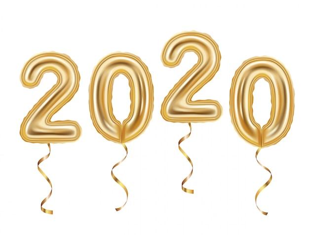 Realistyczna Dekoracja Złotych Balonów, Szczęśliwego Nowego Roku 2020 Premium Wektorów