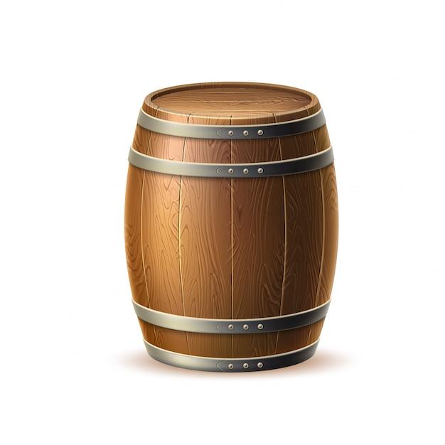 Realistyczna Drewniana Beczka Vecot, Dębowa Beczka Dla Tradycyjnego Browaru Premium Wektorów