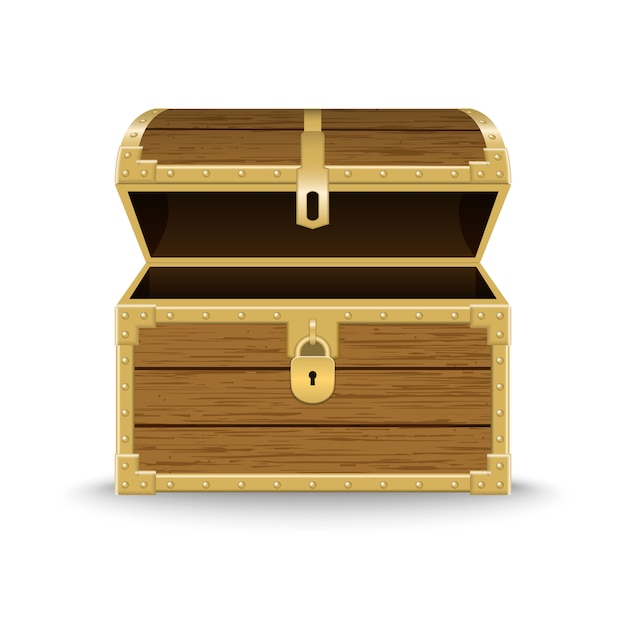 Realistyczna drewniana skrzynia ilustracja Premium Wektorów