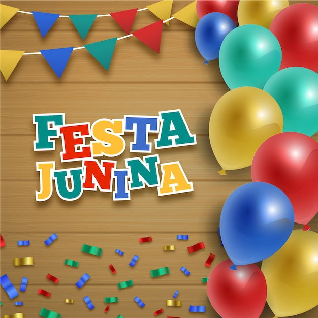 Realistyczna Festa Junina Z Kolorowymi Balonami Darmowych Wektorów
