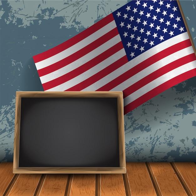 Realistyczna Flaga Usa Z Pustą Tablicą Premium Wektorów