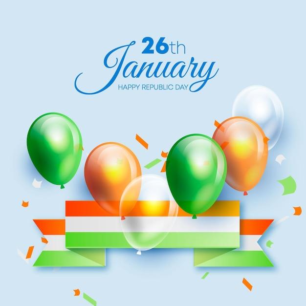 Realistyczna Ilustracja Dzień Republiki Z Balonami Premium Wektorów