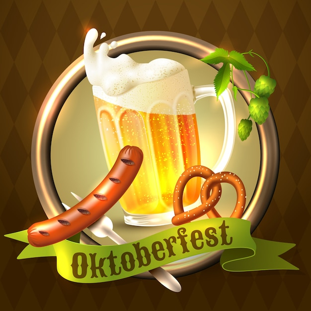 Realistyczna ilustracja festiwalu oktoberfest Darmowych Wektorów