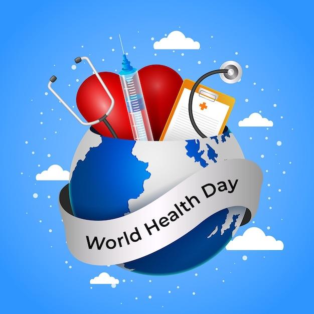 Realistyczna Ilustracja światowego Dnia Zdrowia Z Planetą I Stetoskopem Darmowych Wektorów