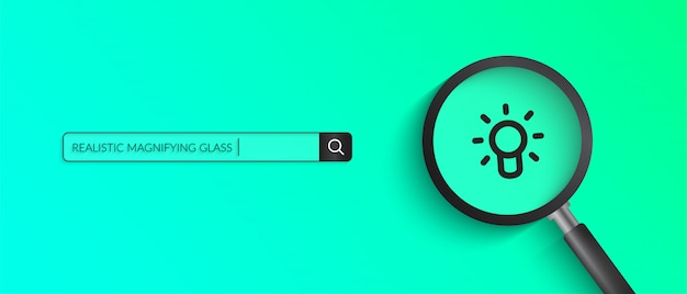 Realistyczna Ilustracja Szkło Powiększające Na Zielonym Kolorze Premium Wektorów