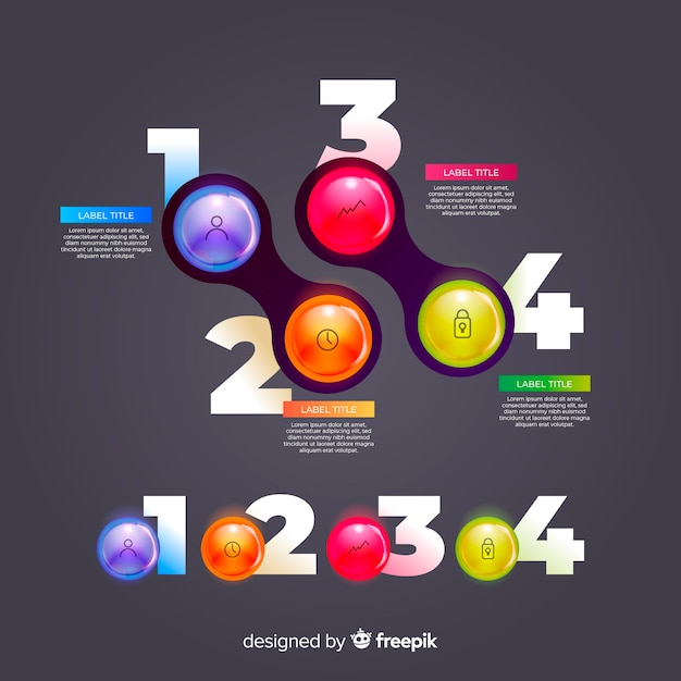 Realistyczna kolekcja błyszczących elementów z tworzywa sztucznego infographic Darmowych Wektorów