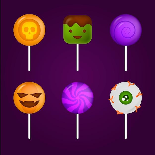 Realistyczna Kolekcja Cukierków Halloween Darmowych Wektorów