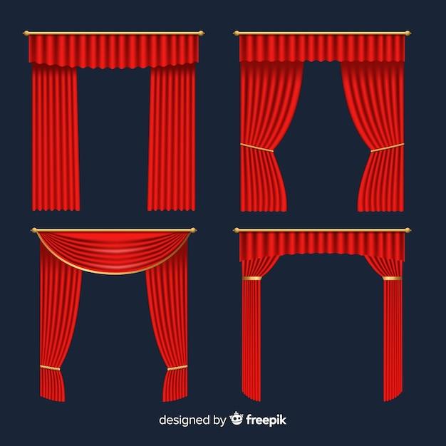 Realistyczna kolekcja czerwonej kurtyny Darmowych Wektorów