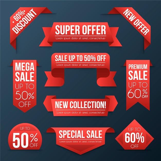 Realistyczna Kolekcja Etykiet Sprzedaży Darmowych Wektorów