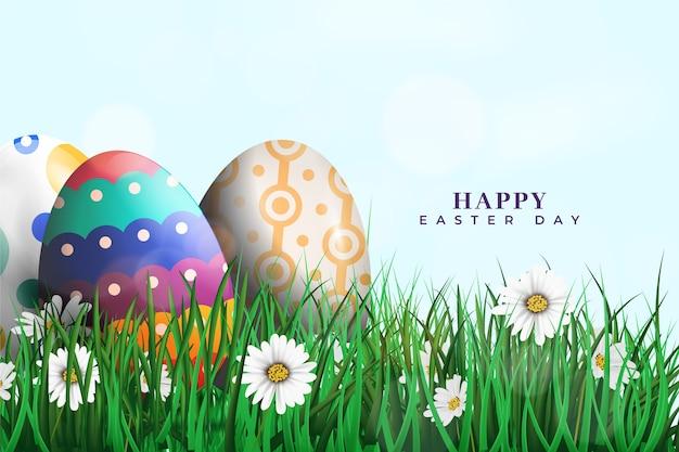 Realistyczna Kolekcja Jaj Wielkanocnych I Trawa Darmowych Wektorów