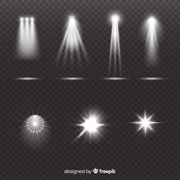 Realistyczna kolekcja oświetlenia sceny Darmowych Wektorów