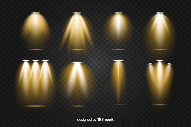 Realistyczna kolekcja oświetlenia złotej sceny Darmowych Wektorów