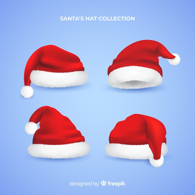 Realistyczna kolekcja santa hat Darmowych Wektorów