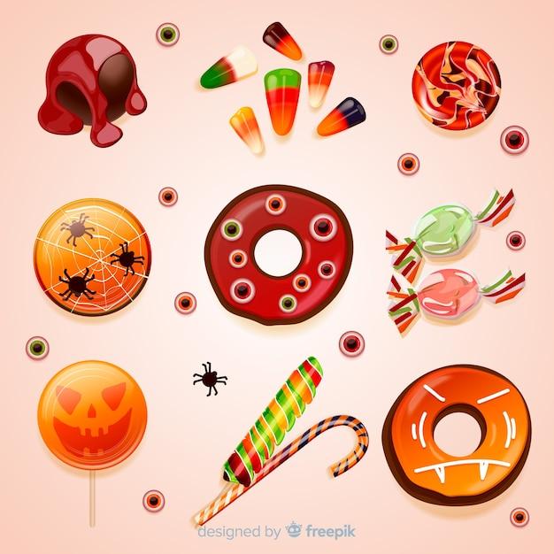 Realistyczna kolekcja smacznych słodyczy halloween Darmowych Wektorów