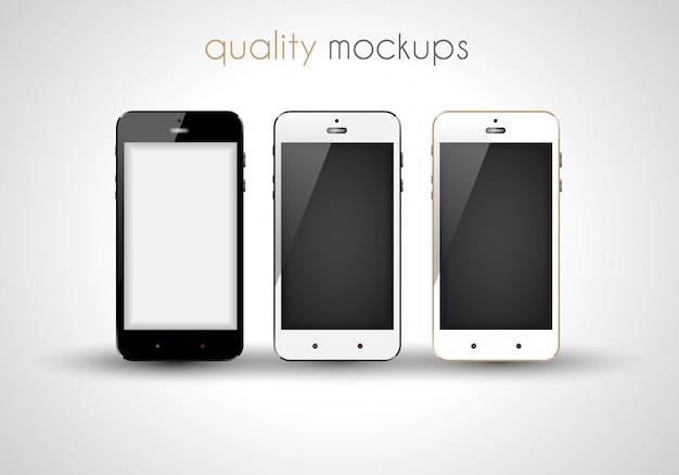 Realistyczna Kolekcja Smartfonów Zestaw Eleganckich Nowoczesnych Makiet Premium Wektorów