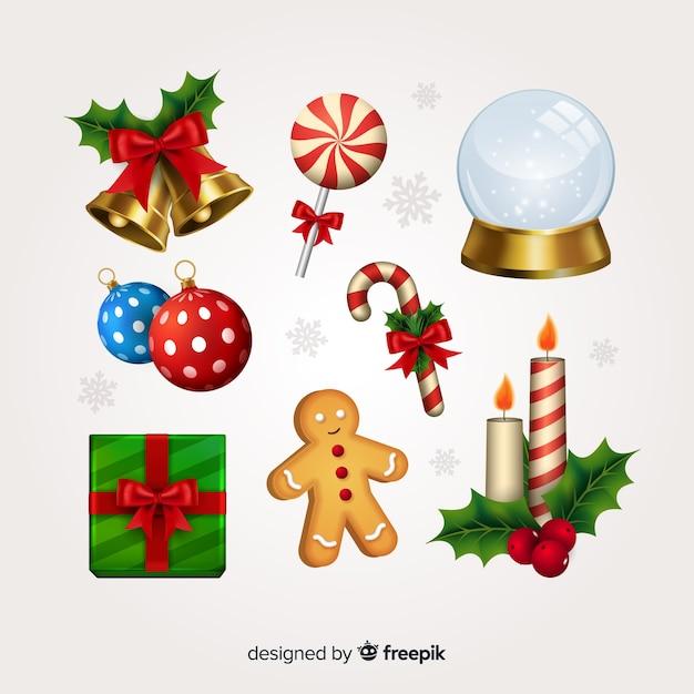 Realistyczna kolekcja świątecznych elementów Darmowych Wektorów