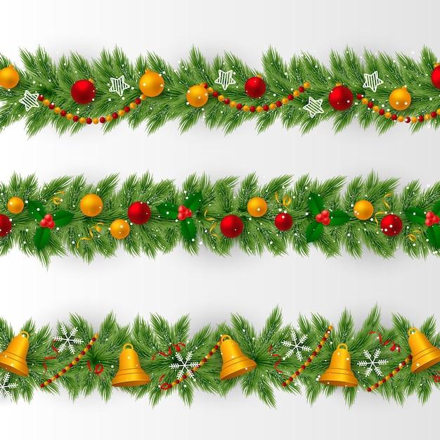 Realistyczna Kolekcja świątecznych Ramek I Granic Darmowych Wektorów