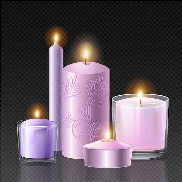 Realistyczna Kolekcja świec Zapachowych Darmowych Wektorów