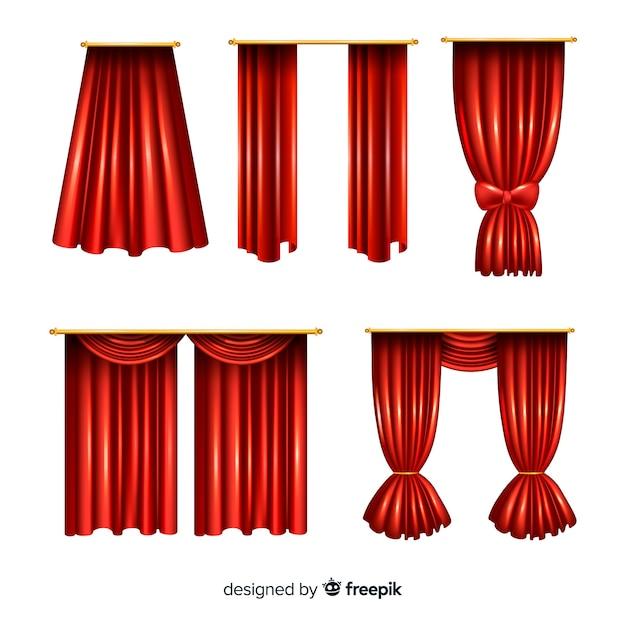Realistyczna kolekcja zamkniętych i otwartych zasłon w kolorze czerwonym Darmowych Wektorów