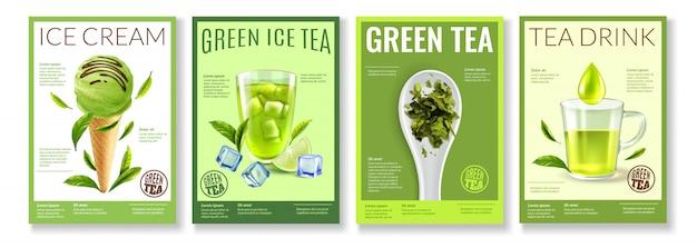 Realistyczna Kolekcja Zielonej Herbaty Darmowych Wektorów