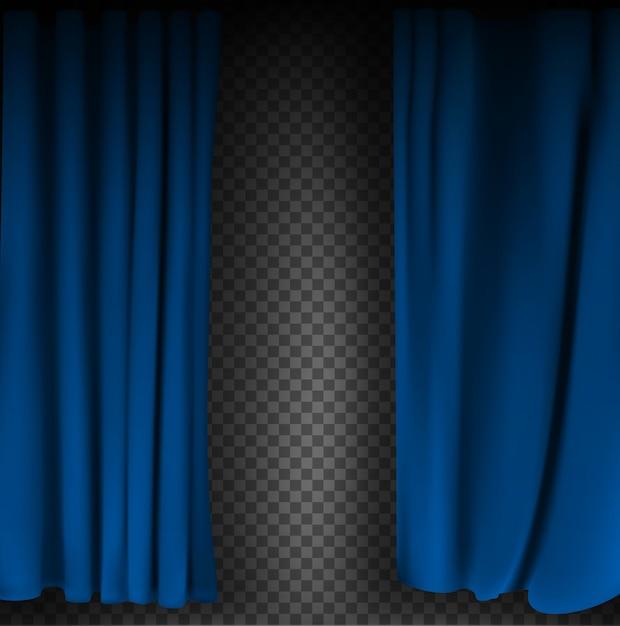 Realistyczna Kolorowa Niebieska Aksamitna Zasłona Złożona Na Przezroczystym Tle. Opcja Zasłony W Domu W Kinie. Ilustracji Wektorowych Premium Wektorów