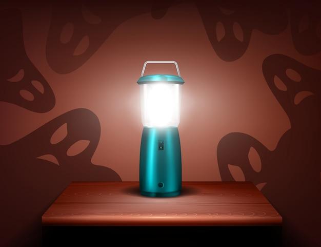 Realistyczna kompozycja duchów niebieskiej latarki Darmowych Wektorów