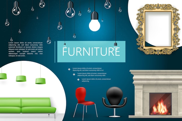 Realistyczna Kompozycja Elementów Wnętrza Domu Z Krzesłami Kominkowymi Zielona Sofa Lampy Dekoracyjne Lampy Ramowe Darmowych Wektorów