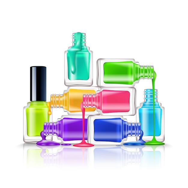 Realistyczna kompozycja kolorowych fluorescencyjnych lakierów do paznokci na białym tle Darmowych Wektorów