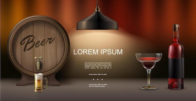 Realistyczna Koncepcja Elementów Pubu Z Drewnianą Beczką Piwa Koktajl Butelka Lampy Napoju Alkoholowego Na Niewyraźne Tło Premium Wektorów
