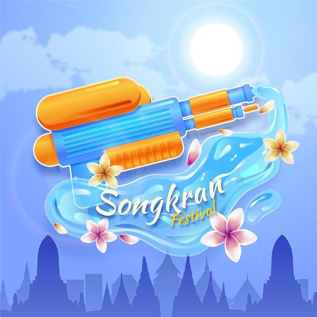 Realistyczna Koncepcja Songkran Darmowych Wektorów