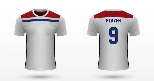 Realistyczna koszulka piłkarska Premium Wektorów