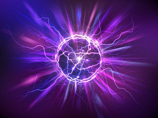 Realistyczna Kula Elektryczna Lub Abstrakcyjna Kula Plazmowa Darmowych Wektorów