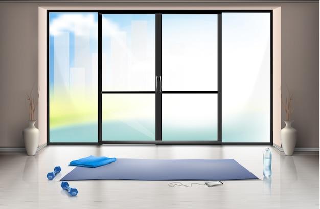 Realistyczna makieta pustej sali gimnastycznej na treningi fitness z niebieską matą do jogi i hantelkami Darmowych Wektorów