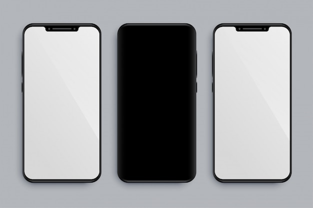 Realistyczna Makieta Smartfona Z Przodu Iz Tyłu Darmowych Wektorów