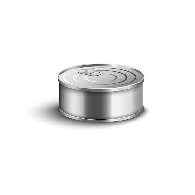 Realistyczna Mała Metalowa Puszka Z Zamkniętym Pierścieniem Pociągnij Pokrywkę Na Białym Tle - Krótki Pojemnik Na Przetwory Rybne Z Błyszczącą Srebrną Gładką Powierzchnią, Ilustracja Premium Wektorów