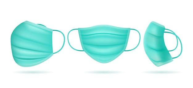 Realistyczna Maska Medyczna Pod Różnymi Kątami Darmowych Wektorów
