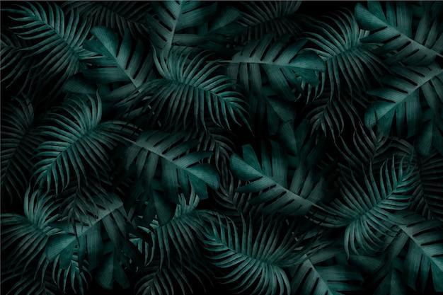 Realistyczna Monochromatyczna Tapeta Tropikalnych Liści Darmowych Wektorów