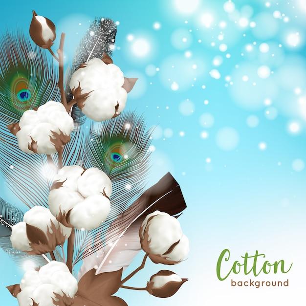 Realistyczna niebiesko-biała bawełna z pawim piórkiem i Darmowych Wektorów