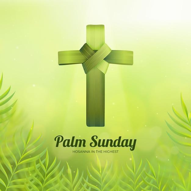 Realistyczna Niedziela Palmowa Ilustracja Z Krzyżem Premium Wektorów