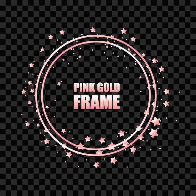 Realistyczna Okrągła Rama W Kolorze Różowego Złota Premium Wektorów
