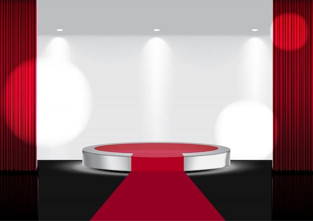 Realistyczna otwarta czerwona kurtyna na metalowej scenie lub kinie Premium Wektorów