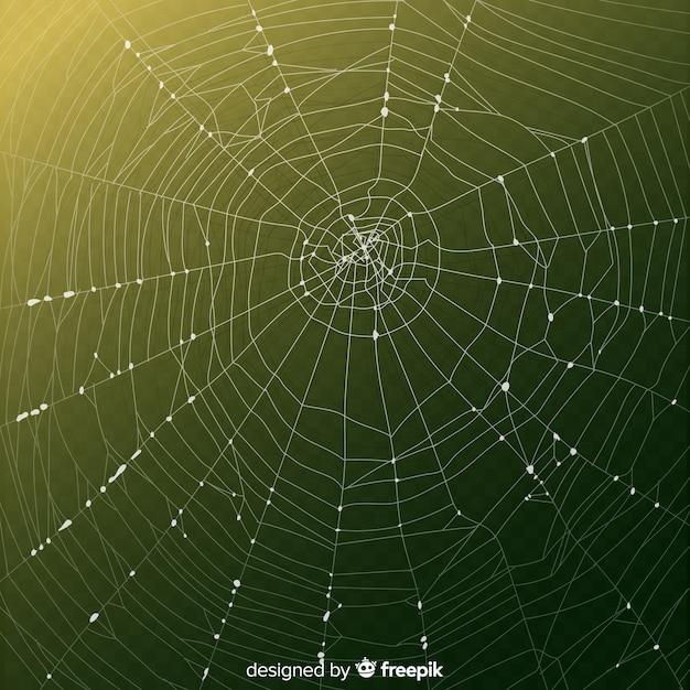 Realistyczna pajęczyna z gradientowym zielonym tłem Darmowych Wektorów