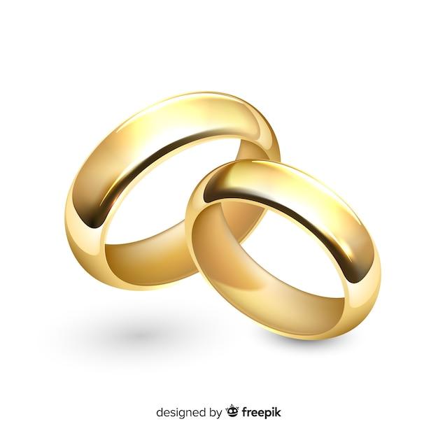 Realistyczna para złotych obrączek ślubnych Darmowych Wektorów